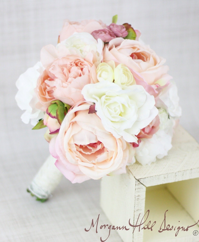 Silk Bride Bridesmaid Bouquet Peony Peonies Roses Ranunculus Daisies Country Wedding Lace (Item Number 130118) - braggingbags