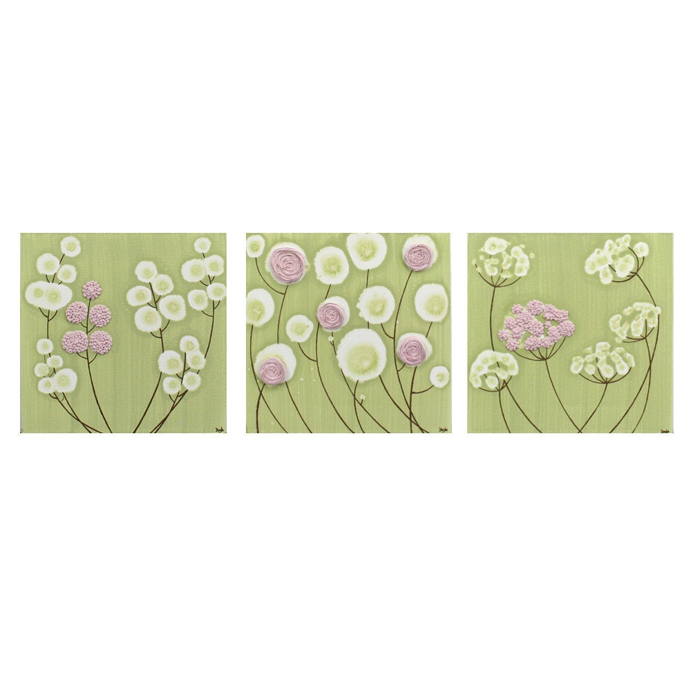 Pink And Green Wall Decor For Nursery : Pink and green nursery decor set of three wall art by amborela