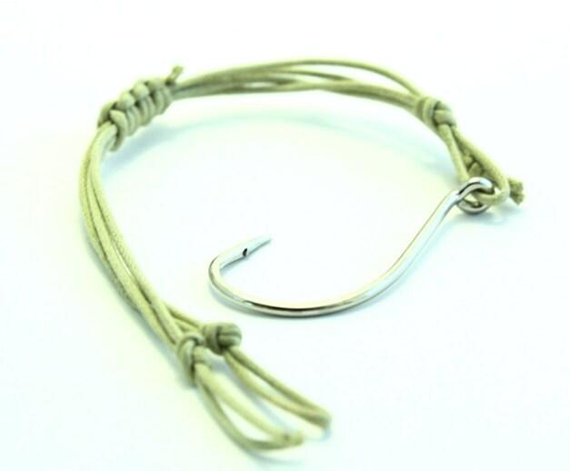 Items similar to mens fish hook bracelet tan color free for Mens fishing bracelet
