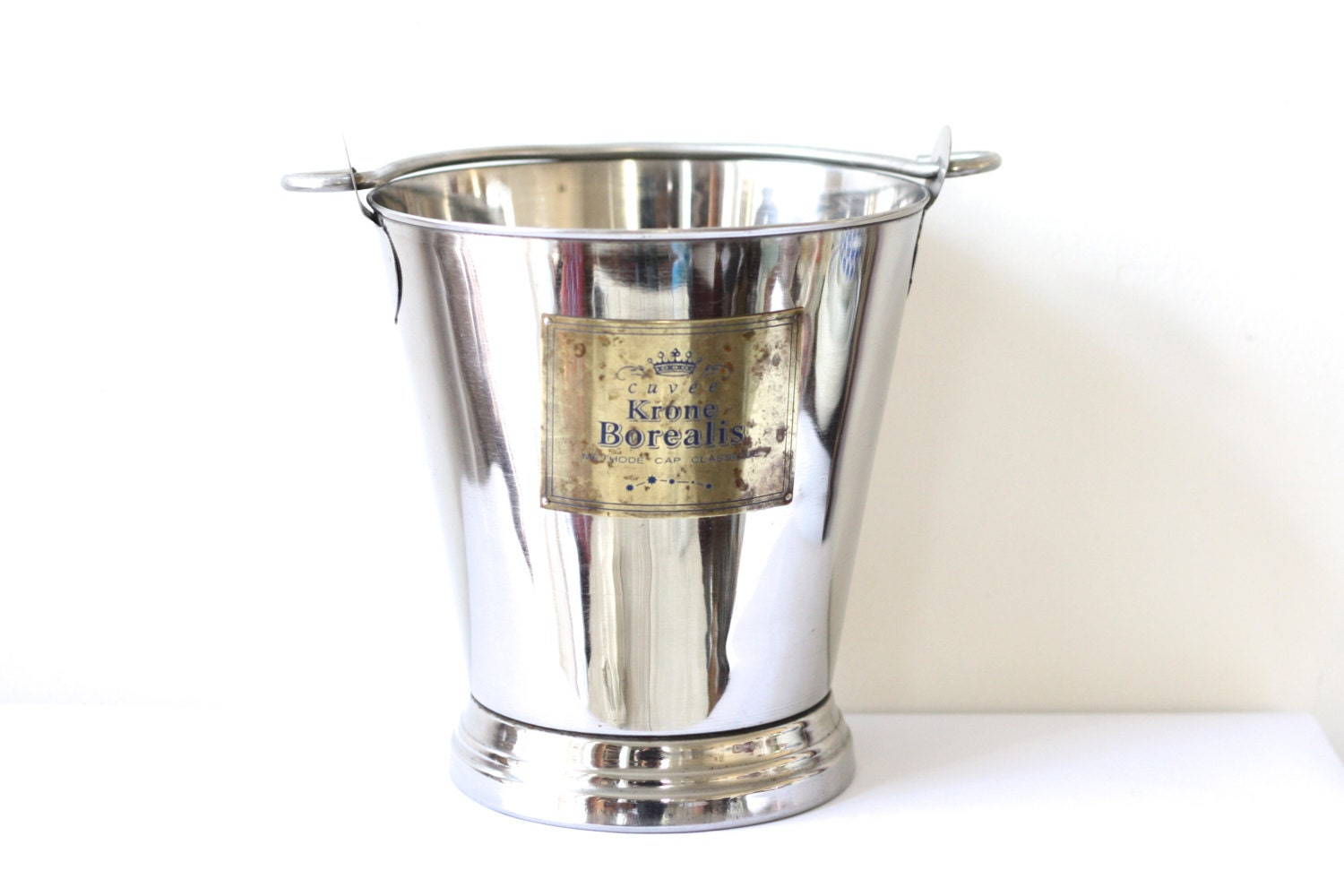 Rare. French vintage large stainless Champagne bucket. Champagne bucket for Christmas.Special festive of Christmas - Passesimple