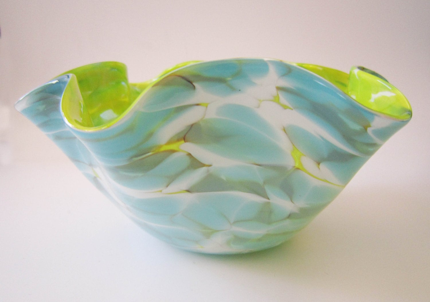 Candy bowl - chartreuse, aqua and white blown glass - misodaglass