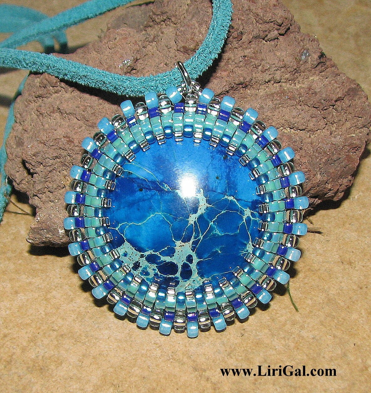 Blue African Turquoise beaded  pendant