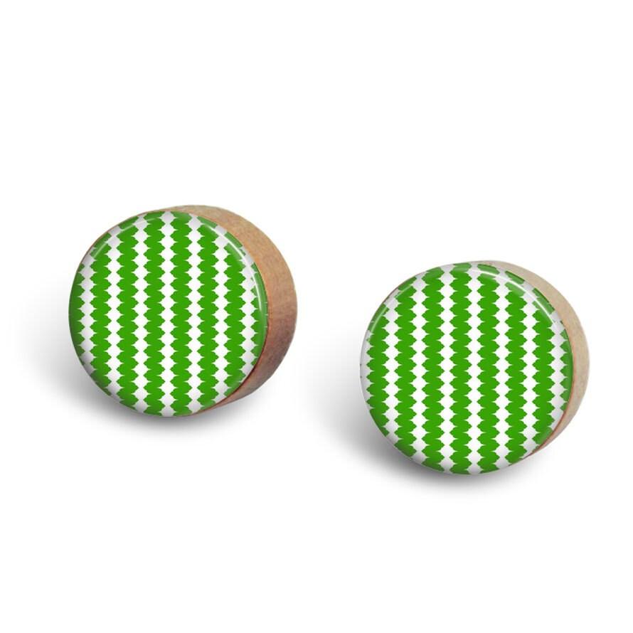 Wood Earrings // Kelly Green Stripped Earrings // Birthday Gift // Bridesmaid Gift // Modern Wood Stud Earrings