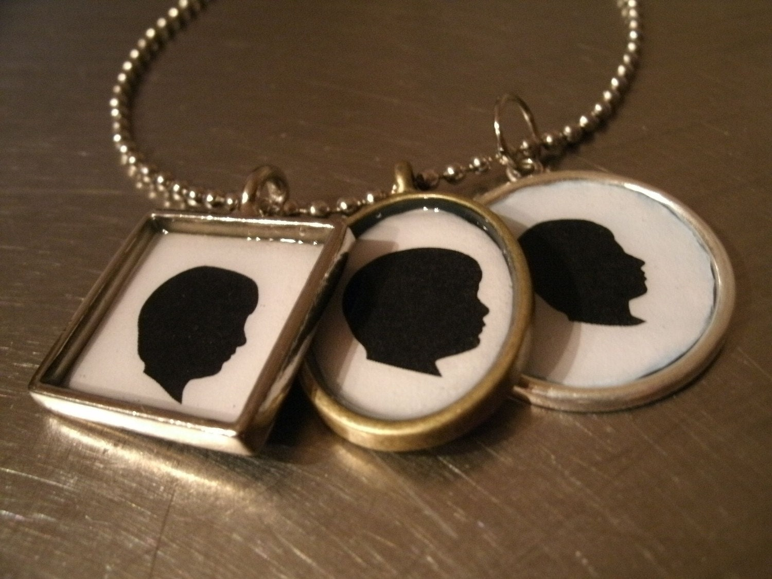 Custom Silhouette Necklaces with two silhouettes