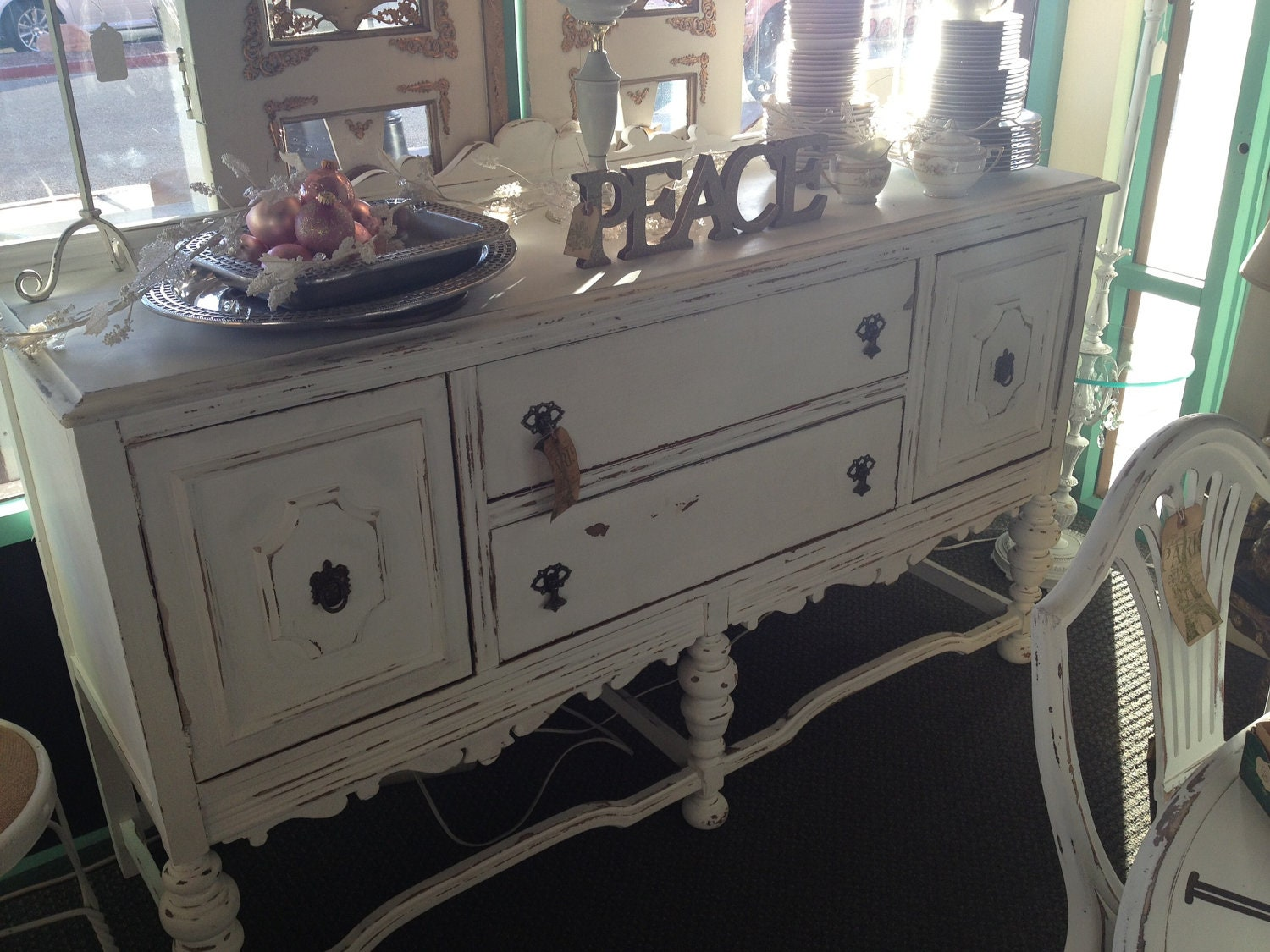 items similar to antique vintage 1930 39 s buffet table white chalk paint shabby chic cottage chic. Black Bedroom Furniture Sets. Home Design Ideas