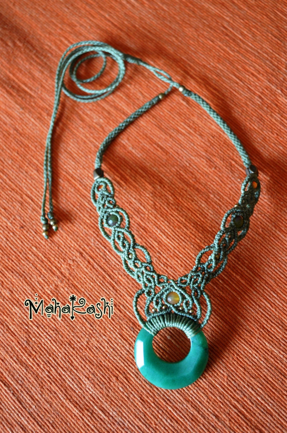 Macrame necklace Elven world with Agate ring Ruby Zoisite and Agate beads