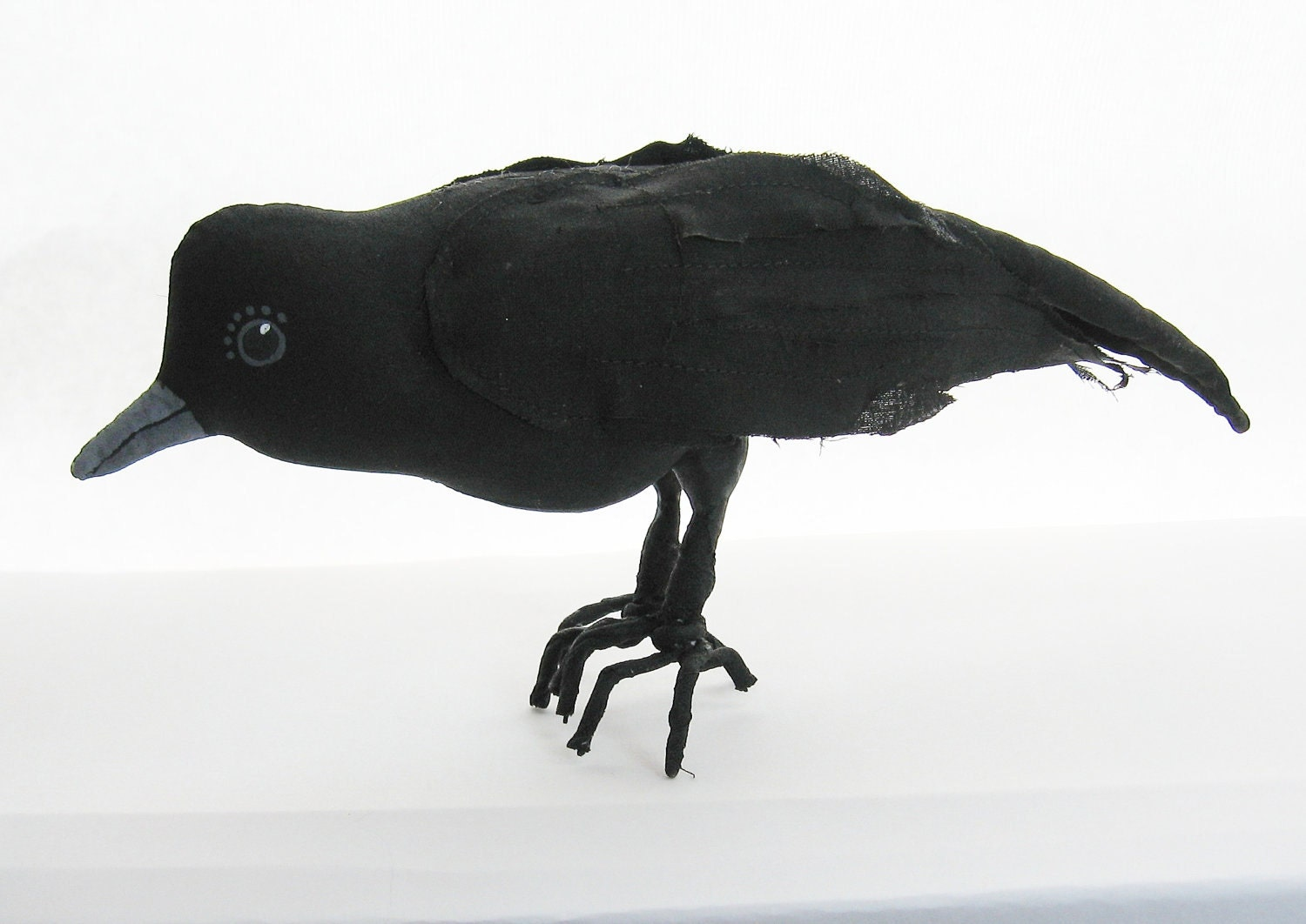 Crow Raven Black Bird Primitive Folk Art Soft Sculpture - digiliodesigns