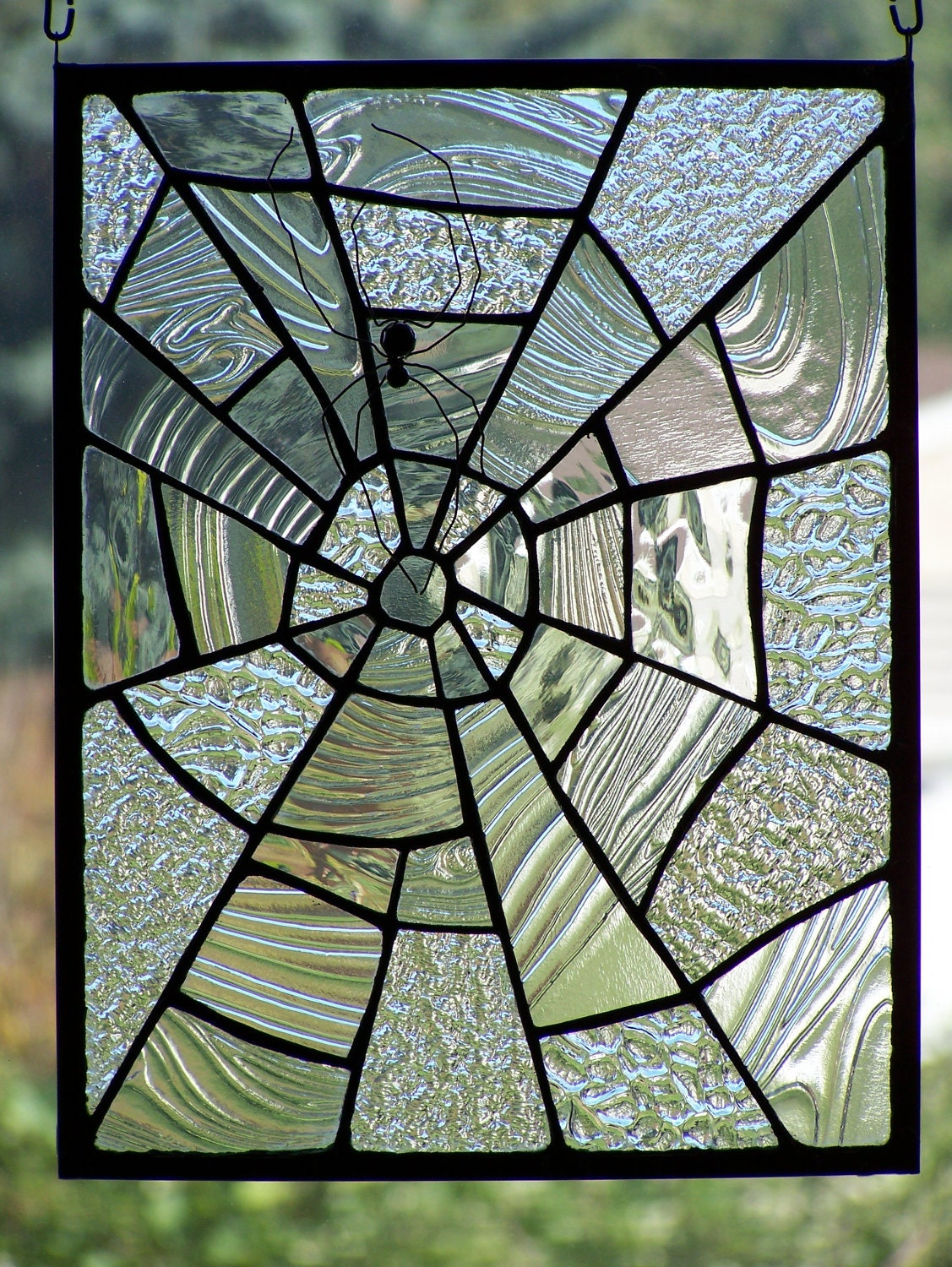 Stained glass textured clear glass spiderweb small by for Textured glass panels