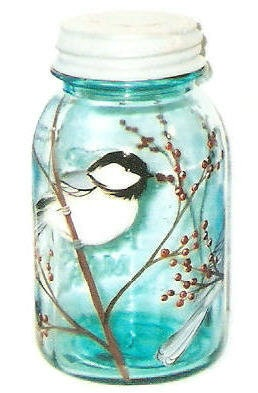 Chickadee Vintage Quart Mason Glass Jar Bird Hand-painted Black Capped Chickadee by Lisa Hayward - ourhousecraft