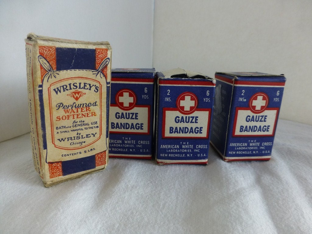 Wrisleys Perfumed Water Softener Sample and WWII American White Cross Gauze Bandage 3 Pkgs - OldQuincySchoolhouse