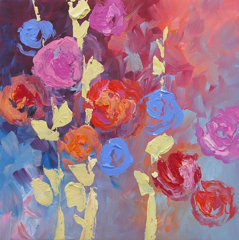 Floral painting original art abstract flowers by lindamonfort for Abstract art flowers paintings