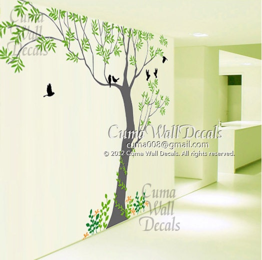 Wall Art Flowers And Birds : Tree wall decals bird art home decors flower murals