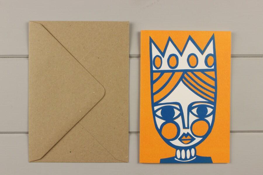 Queen linocut greetings card - WorkOnPaperStudio