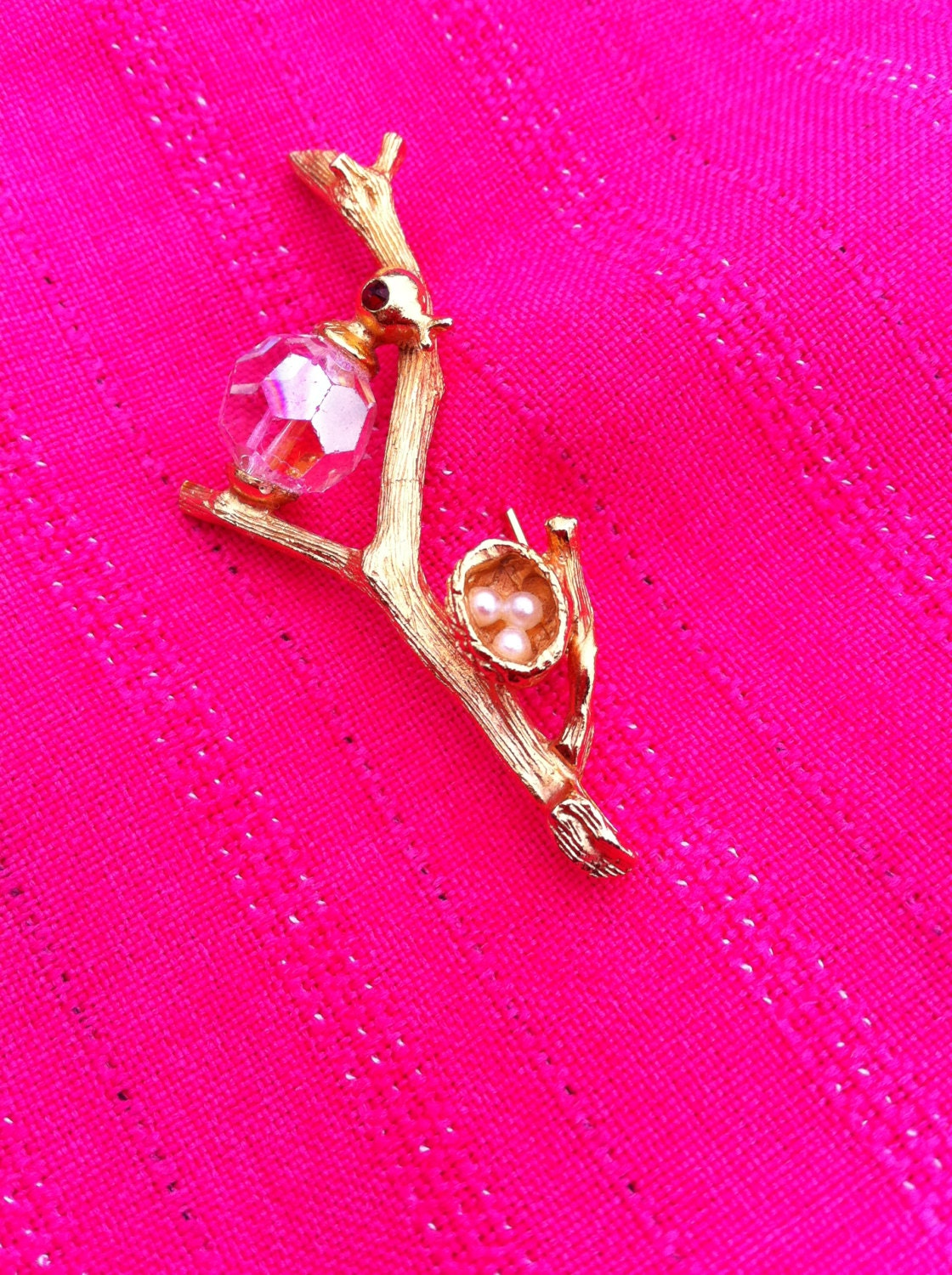 Vintage bird and nest brooch pin antique vintage retro jewellery jewelry