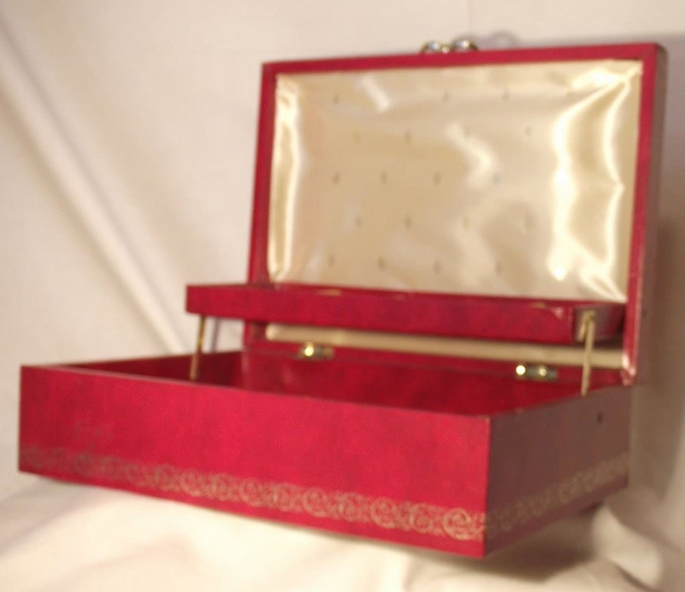 Red Jewelry Box with Gold Trim Vintage and Wonderful