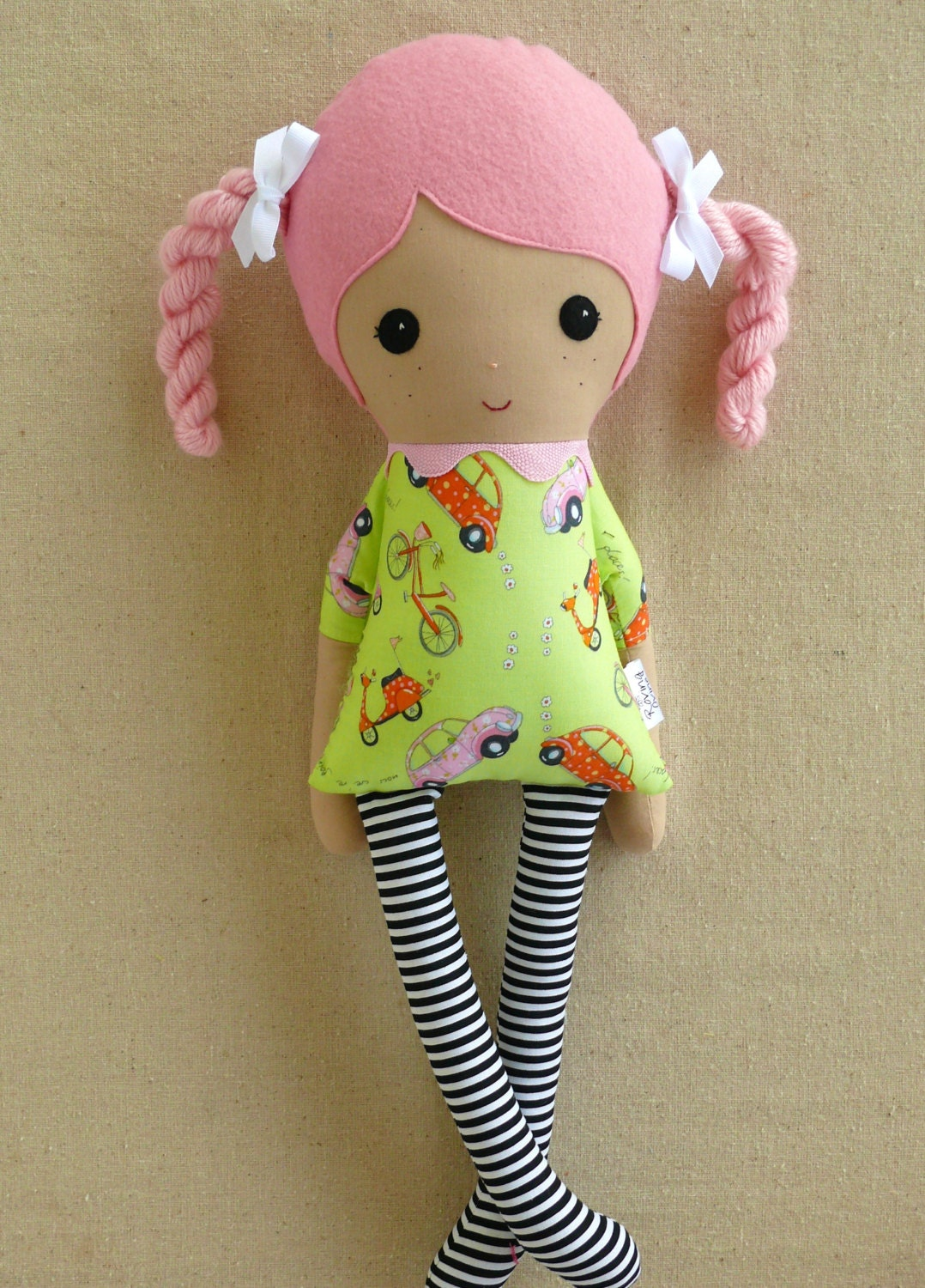 Fabric Doll Rag Doll Pink Haired Girl with Braids in Retro Car Print Dress