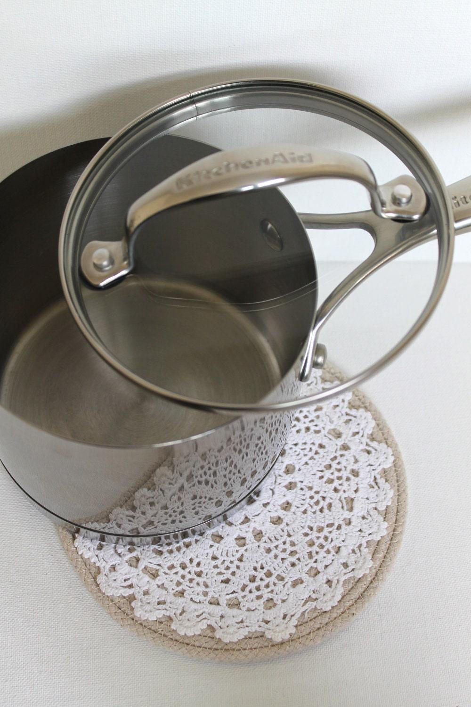 Подставка ручной круглый канат вязания Потертый Chic кухни Отделка бежевый белый нейтральный