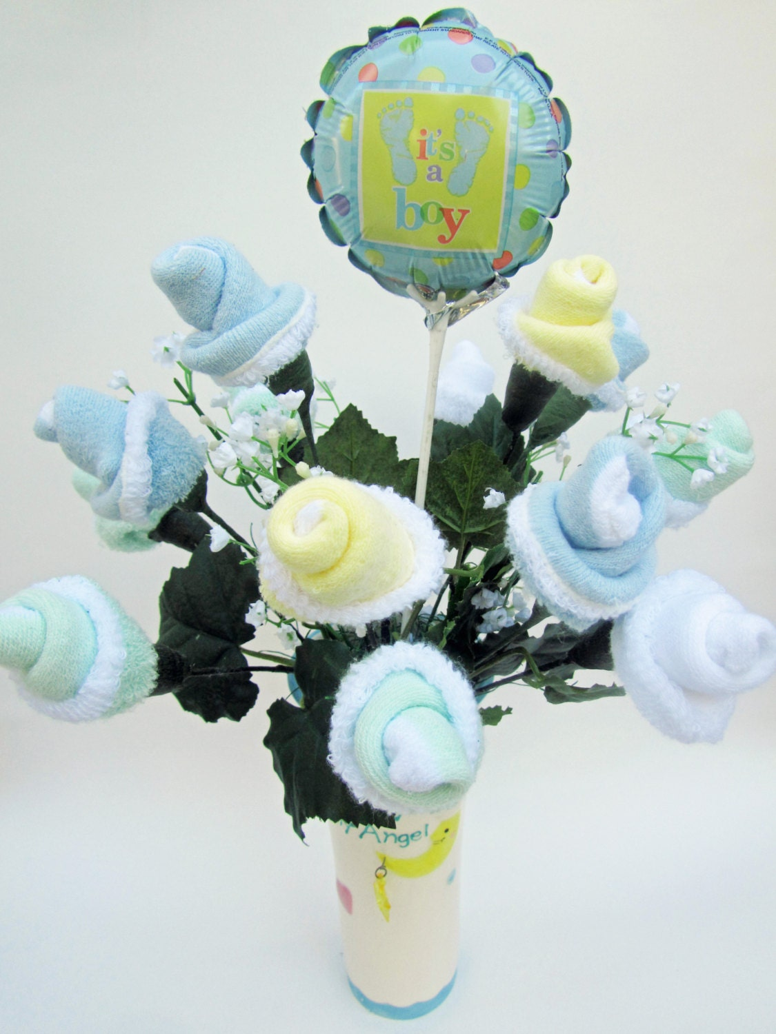 New Baby Floral Gift Ideas : Baby shower centerpiece boy gift flower by