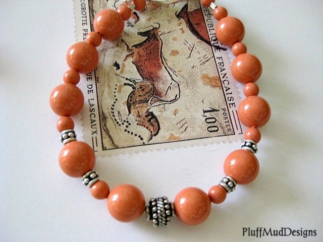Swarovski Pearl Bali and Sterling Silver Bracelet- Tangerine Tango - PluffMudDesigns