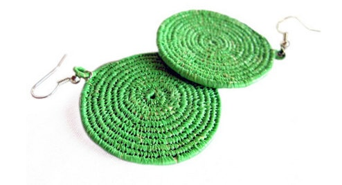 Kelly Green Coil Earrings Handmade of Recycled African Food Ration Bags EAR-005
