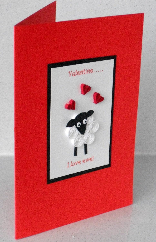 Гофрированный овец Валентина карты - Я люблю овцы