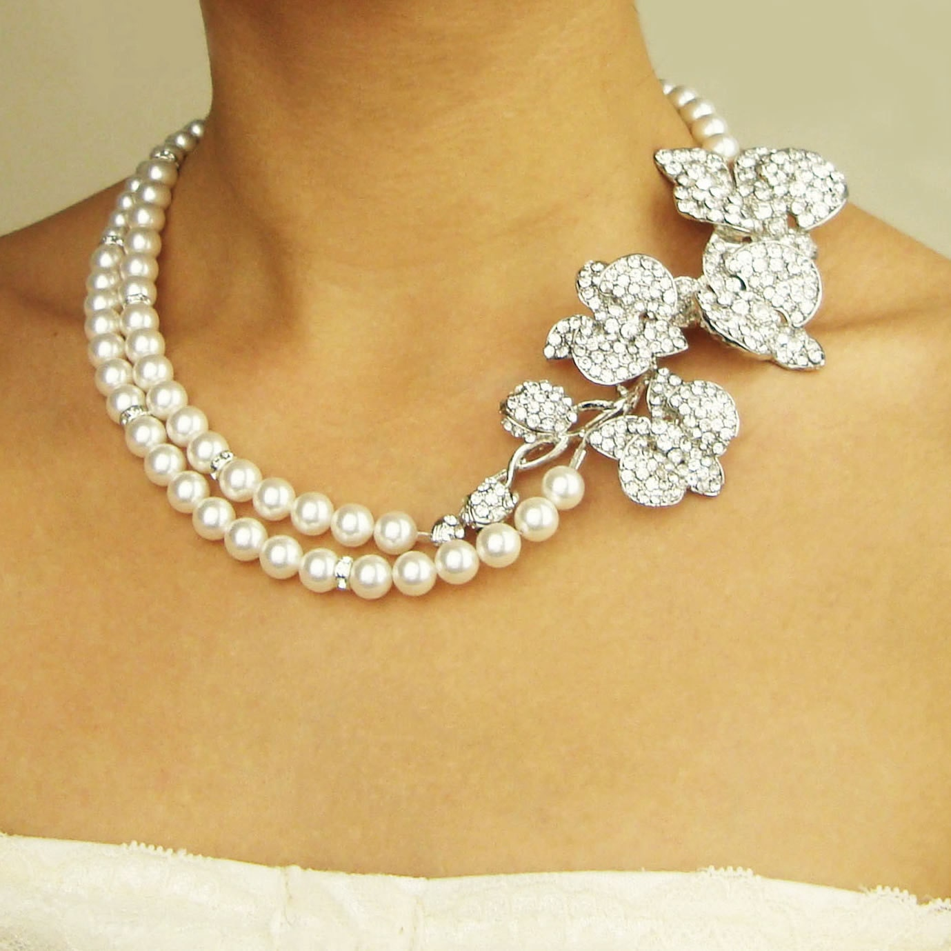 Orchid Bridal Necklace, Statement Pearl Bridal Wedding Necklace, Vintage Style Bridal Jewelry, Crystal Orchids Flower Necklace, ORCHID BLOOM