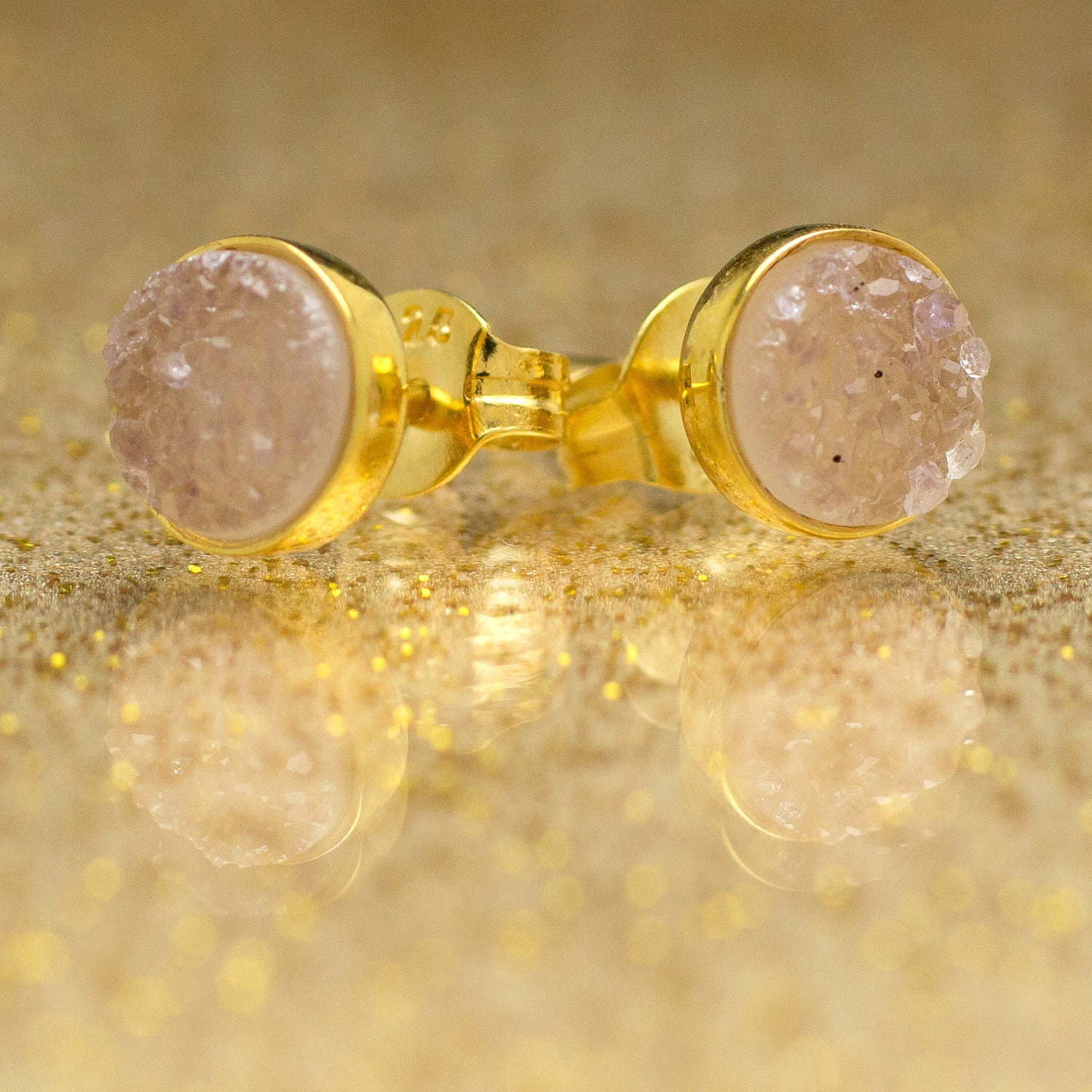 Drusy Quartz Stud Earrings - 24k Gold Vermeil - 6mm Round - Light Pink Drusy Quartz