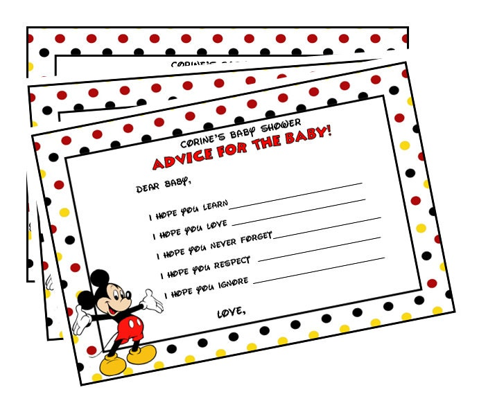 mickey mouse baby shower advice cards printable by lulupaperprints
