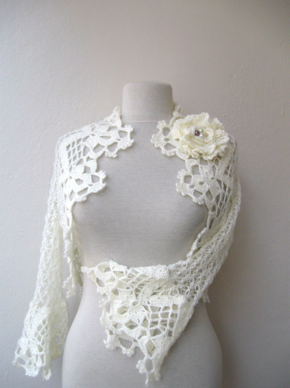 Lace shrug bolero jacket with flower brooch-white of ivory mohair-3/4 sleeved-weddings bridal bridesmaids bride fashion-spring summer - KnitAndWedding