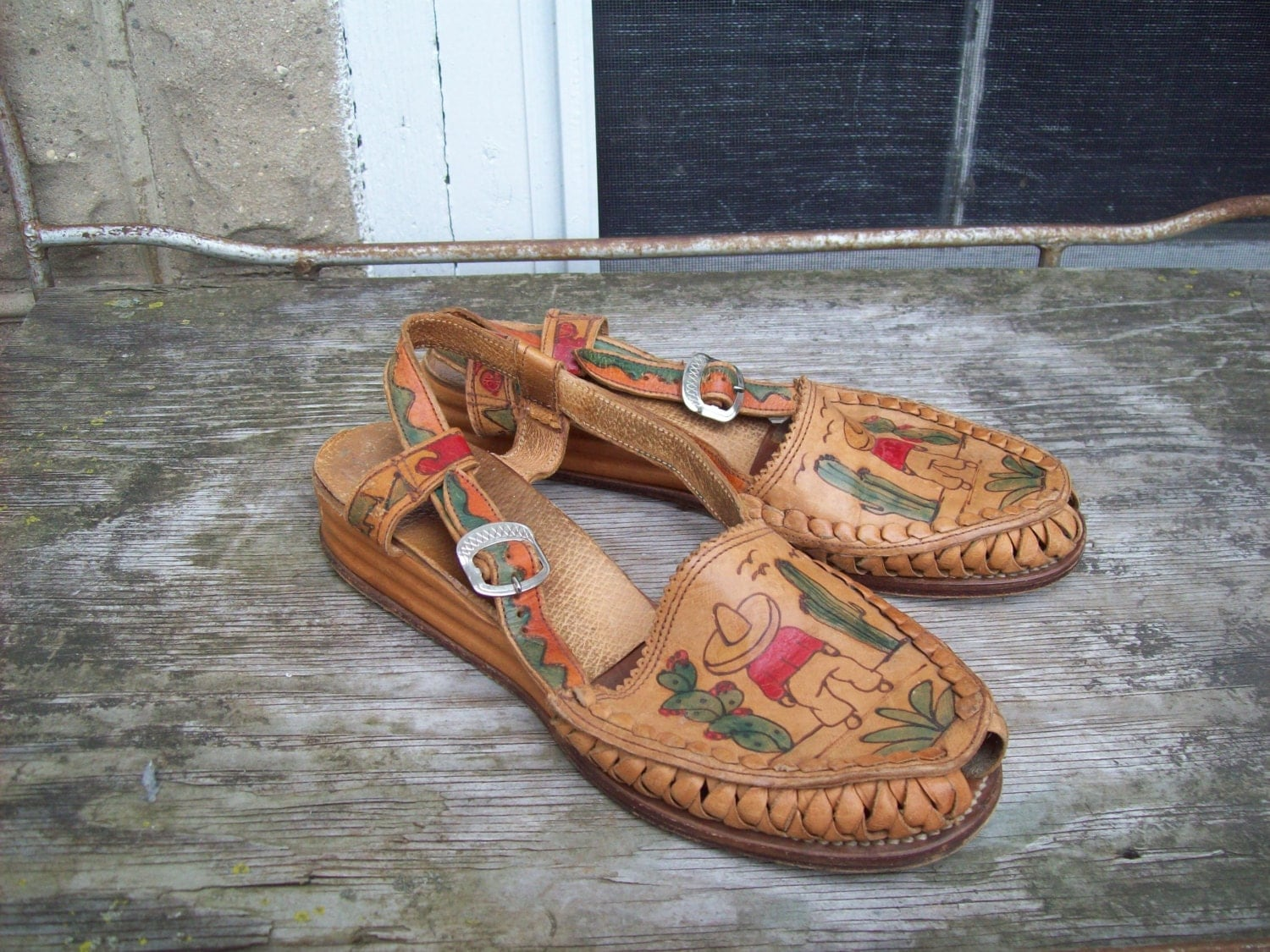 Mexican Huarache Hand Painted Sandals