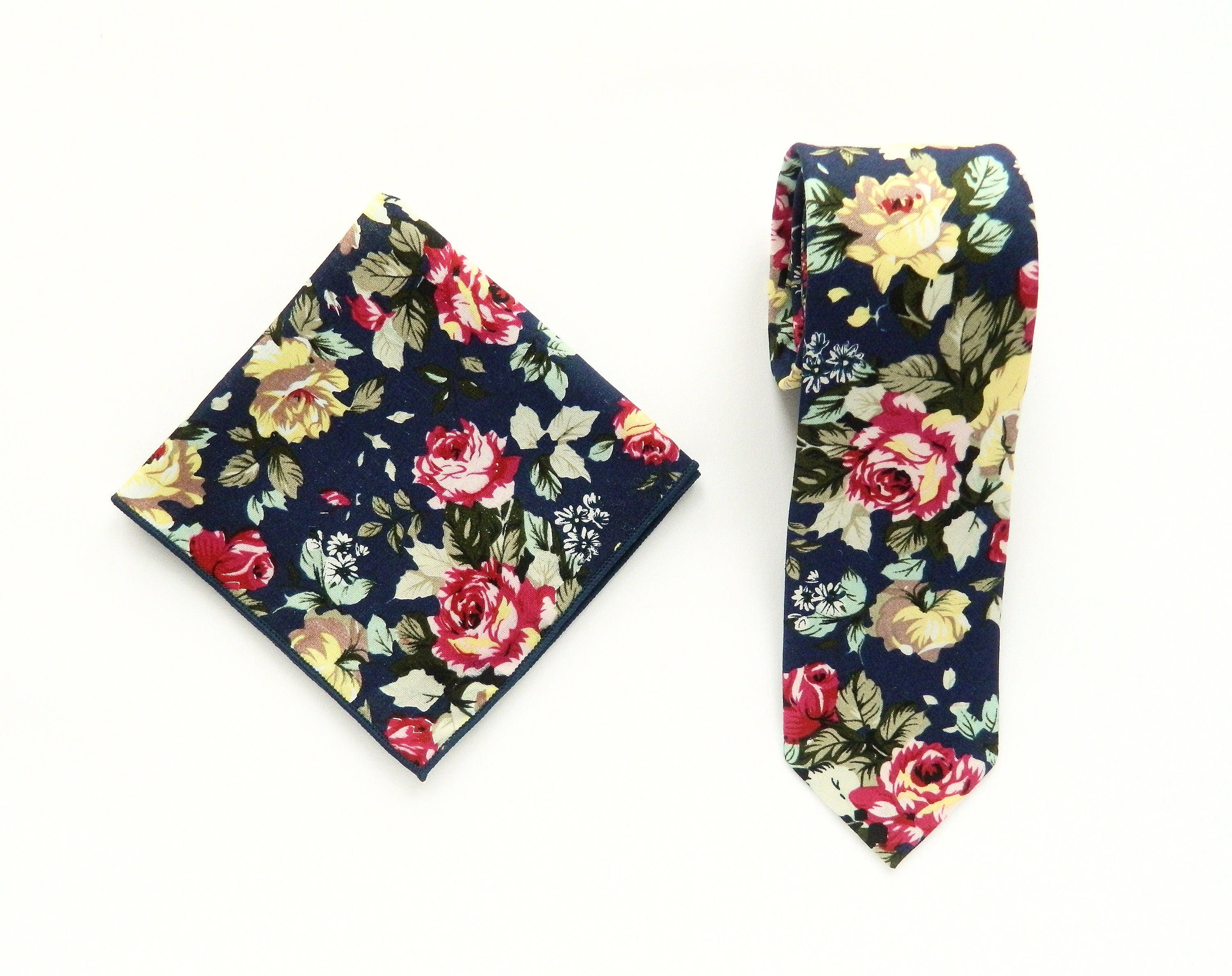 Dark navy floral tie pocket square wedding tie skinny floral navy tie pocket square groomsmen uk