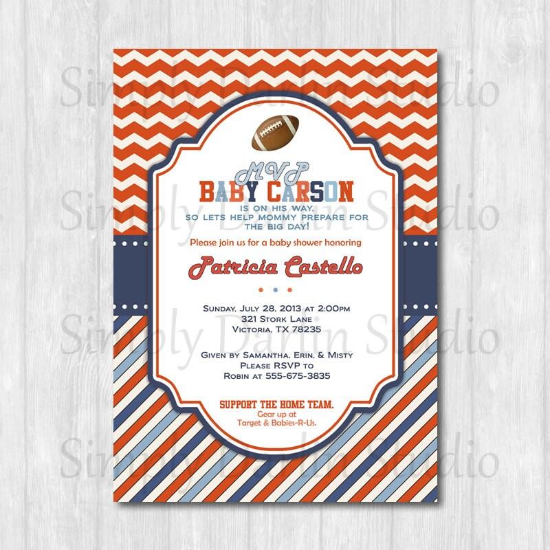 football blue orange red chevron baby shower or birthday invitation