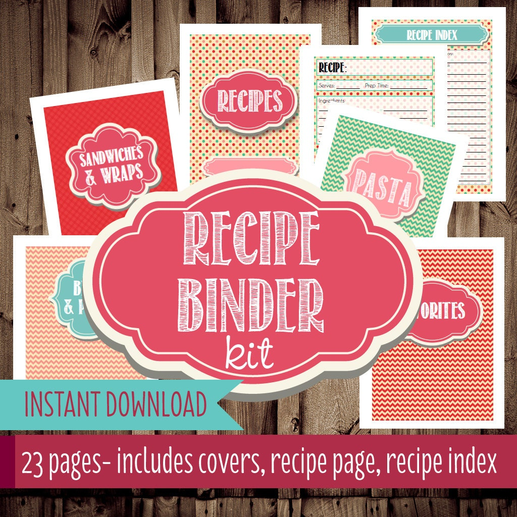 Recipe Binder Printables-Recipe Org anizer, Printable Recipe Binder ...