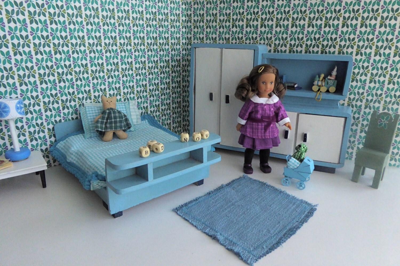 Aqua Blue ART DECO bedroom for Mini AG Dolls or any 67.5 doll like Amanda Jane Alexanderkins Matilda