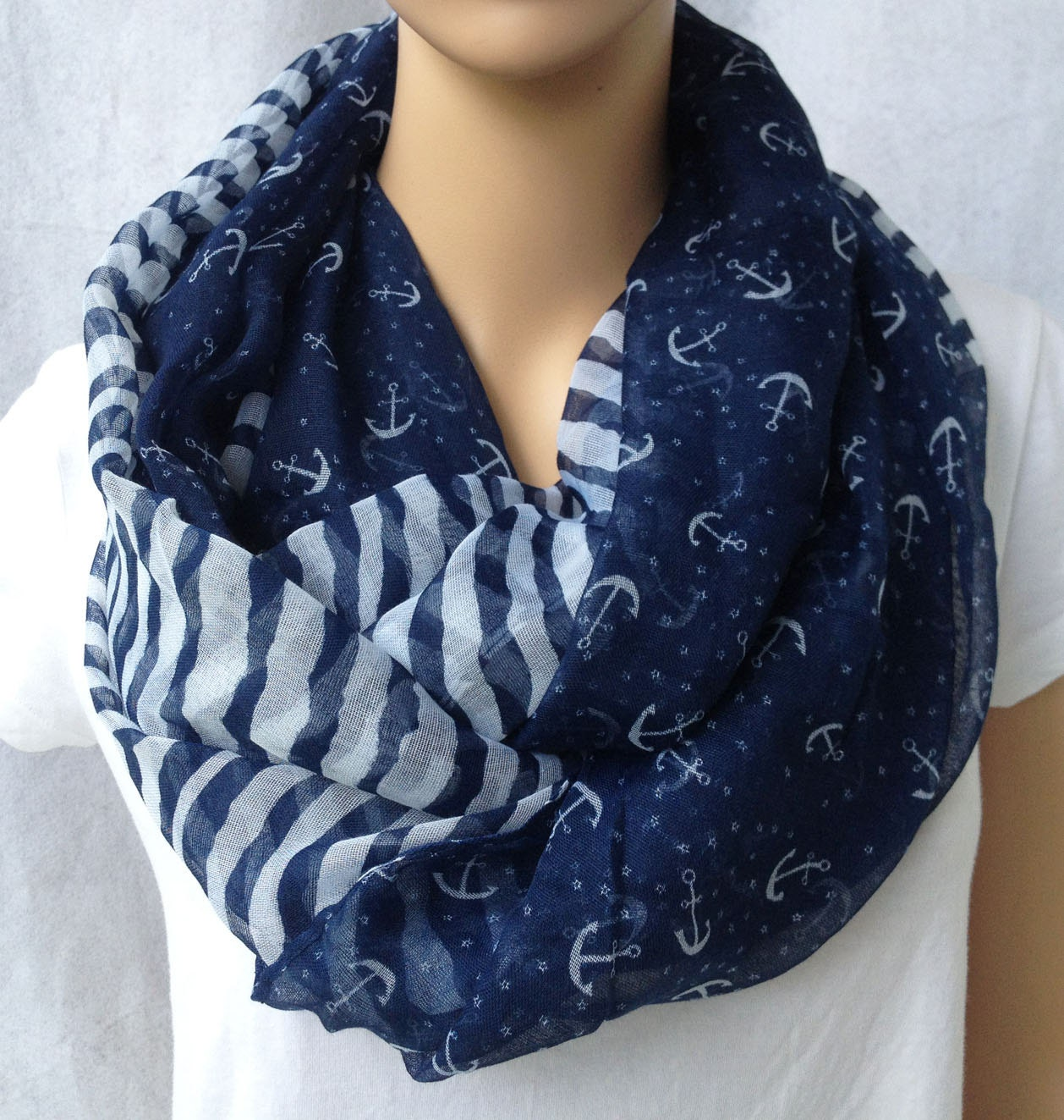 big voile navy stripe and anchor women scarf - YIER
