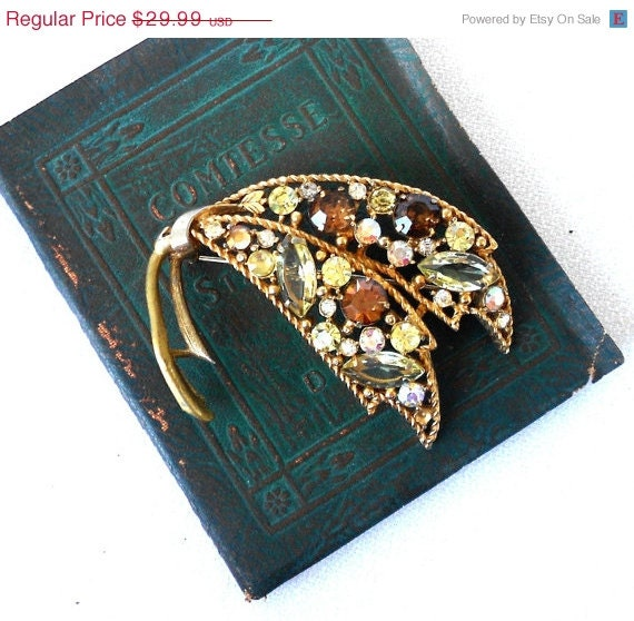 SALE Emmons Rhinestone Brooch Fall Colors - normajeanscloset