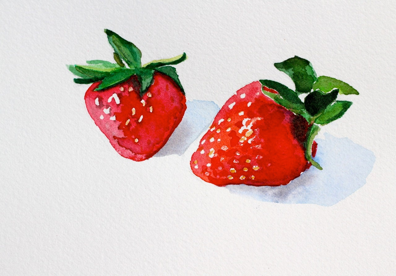 Strawberries Watercolor Red Still Life Fruit by ...