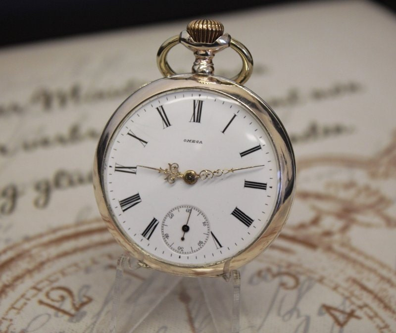 Antique 800 Solid Silver Omega Pocket Watch  Completely Serviced