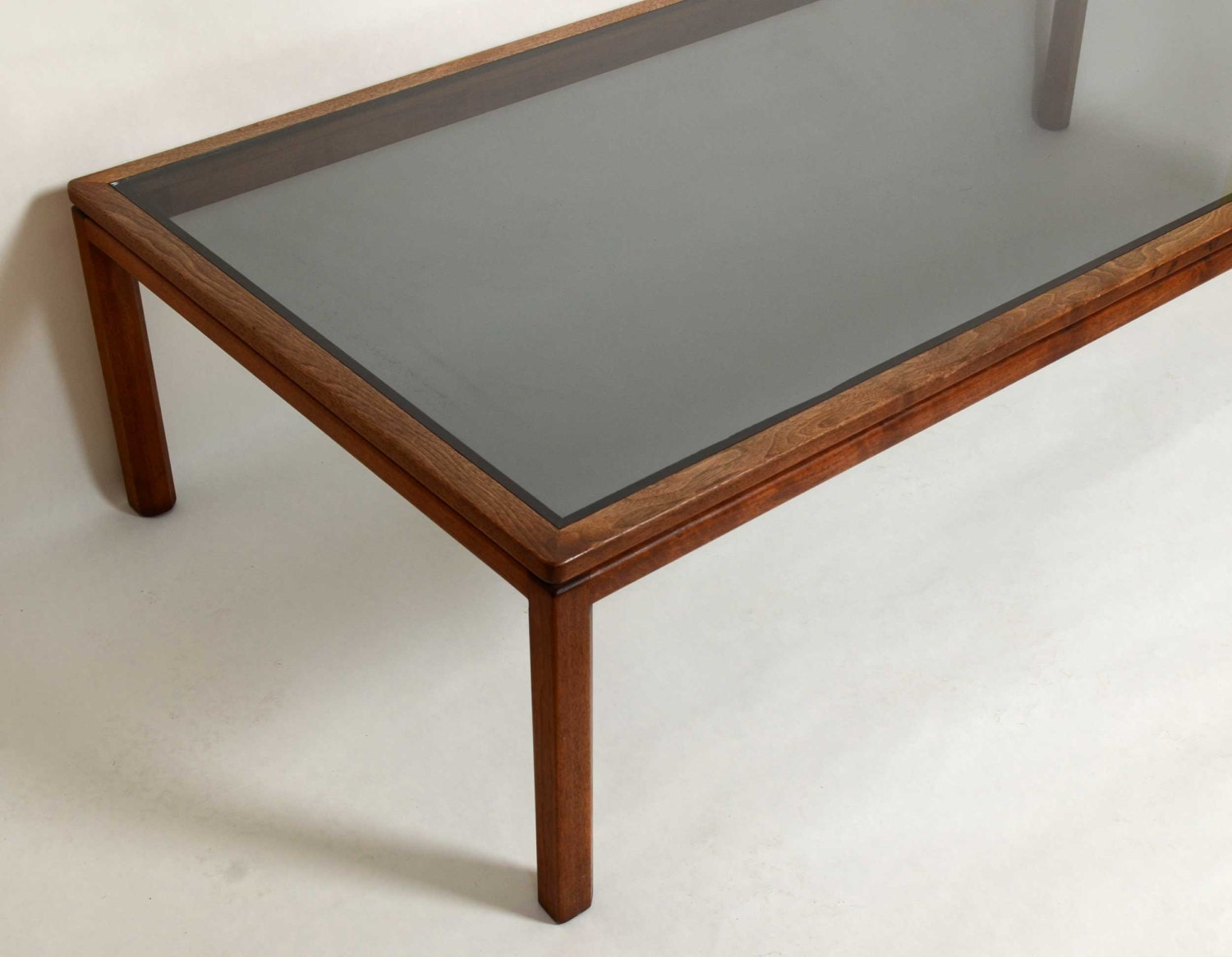 Walnut And Smoke Glass Coffee Table 1960s Or By Hearthsidehome