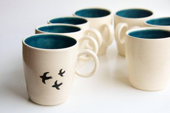 Bird mug in teal handmade ceramics by rosslab bird by rosslab for Handmade pots design