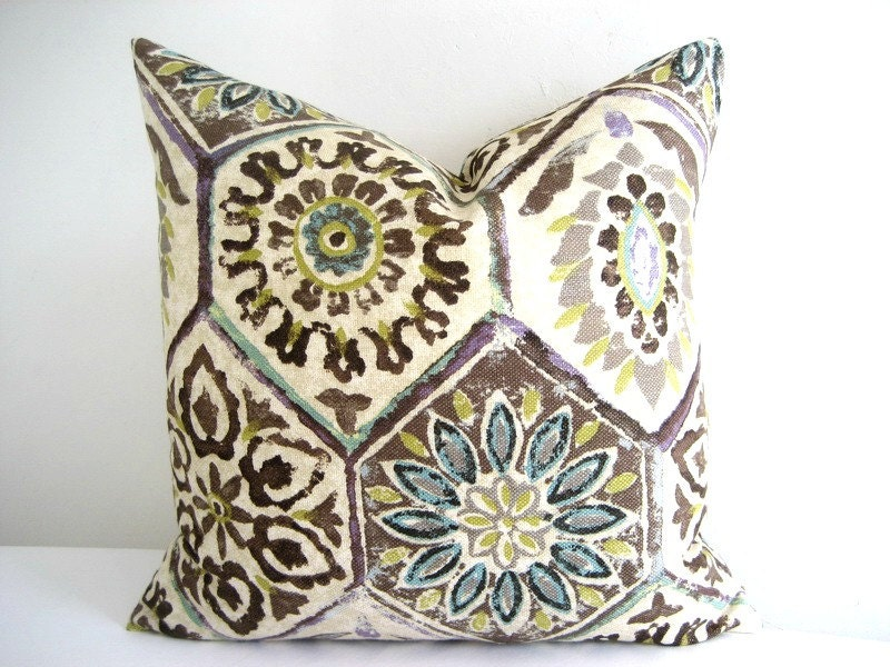 Pillow Cover Linen Boho Tribal Distressed Rustic 18 x 18 - theCottageWorkroom