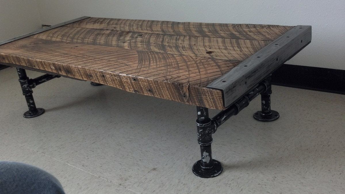 Industrial Coffee Table With Distressed Etsy