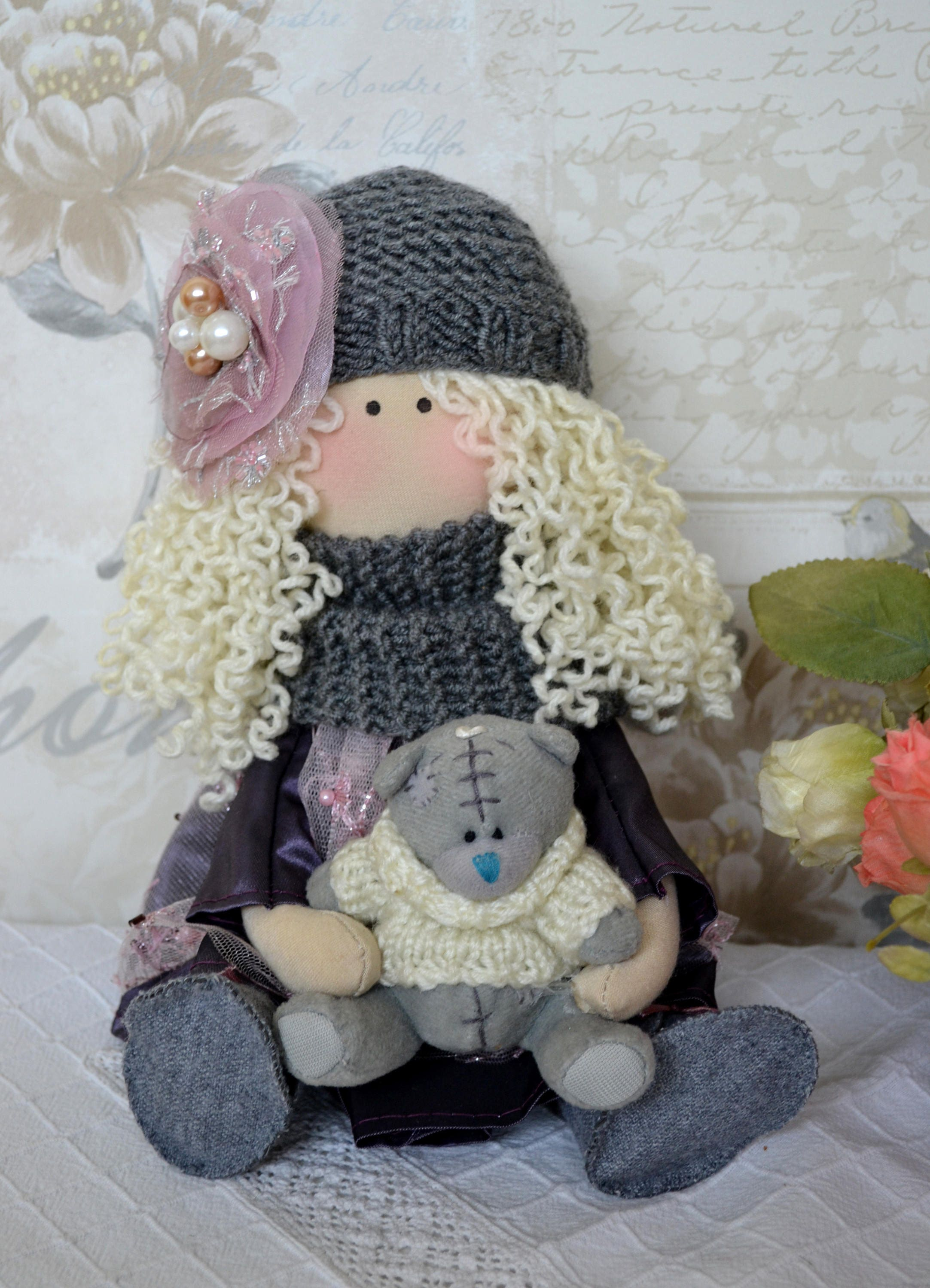Holly Handmade collectable Lindy doll toy Russian dolls hand stitched personalise cloth craft