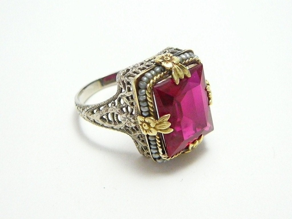 Rare 14k White Yellow Gold Antique Art Deco Red Ruby By