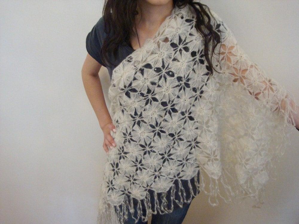 موی مرغوز توری سفید مثلث شال / لباس عروس شال