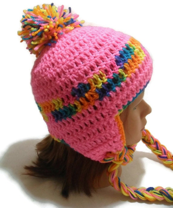 Crocheting Ear Flaps Hat : Crochet Ear Flaps Beanie Hat in Hot Pink and Rainbow with Pom Pom ...