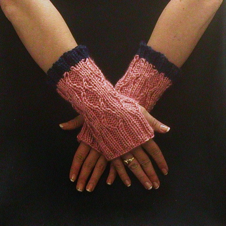 Hobo Gloves Knitting Pattern : Fingerless Gloves Pink Blue Cable Knit Diamond by AllThingsTangled