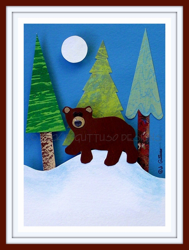Winter art sale, Original, Brown bear art, Woodland, Modern nursery, Woodland Christmas, Original paper sculpture, Cabin decor, Forest
