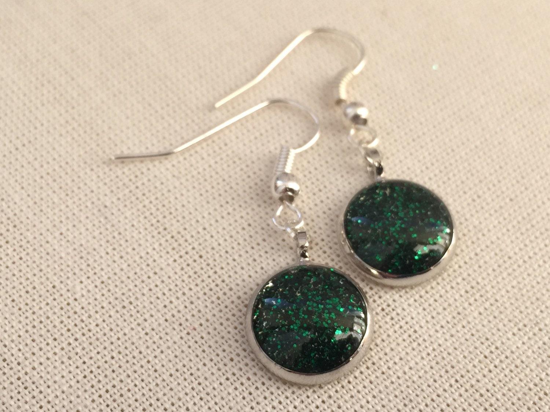 Green Glitter Drop Earrings  Steampunk Welsh Valley Inspired Forest Emerald Green Jewellery
