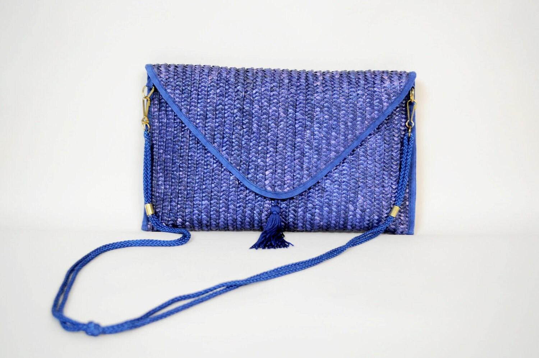 Navy Blue Straw Clutch Purse Tassle Strap
